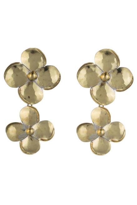 Buy Josie Natori Brass Double Flower Earrings from