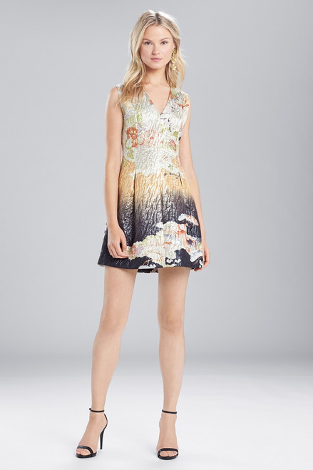 Buy Josie Natori Scenery Metallic Jacquard Front Pleated Dress from