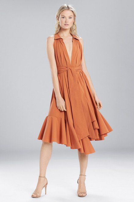 Buy Josie Natori Cotton Shirting Halter Dress from