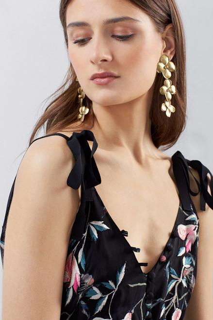 Josie Natori Pressed Flower Printed Silk Chiffon Dress at The Natori Company