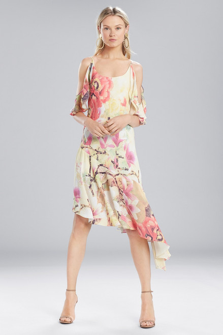 Buy Josie Natori Printed Silky Soft Ruffle Sleeve Dress from
