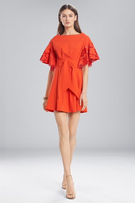 Buy Josie Natori Cotton Shirting Ruffle Sleeve Dress from