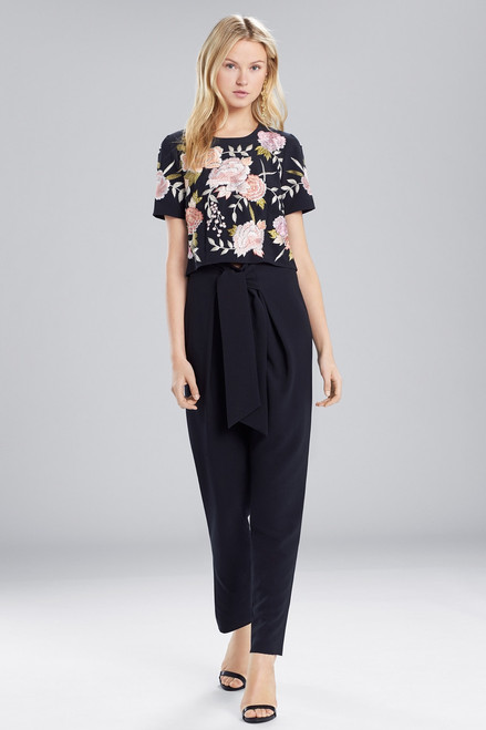 Buy Josie Natori Core Crepe Embroidered Top from