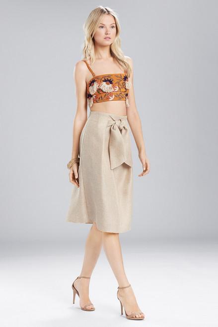 Buy Josie Natori Straw Mixed Media Front Tie Skirt from