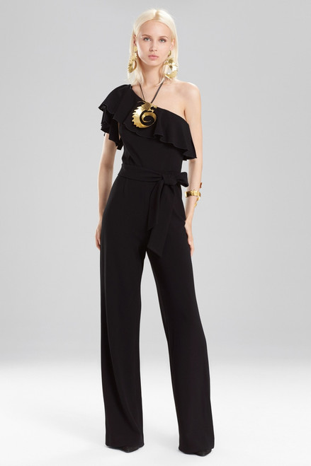 Buy Josie Natori Knit Crepe One Shoulder Ruffle Jumpsuit from