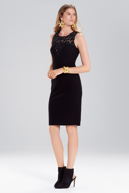 Buy Josie Natori Knit Crepe Embroidered Sheath Dress from