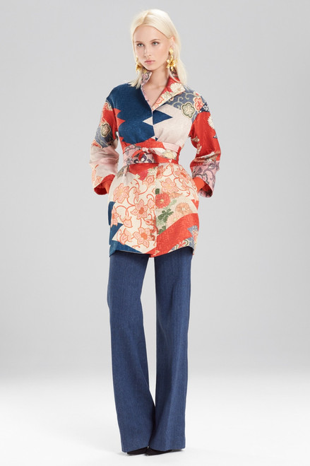 Buy Josie Natori Kimono Patchwork Seamed Long Topper With Sash from