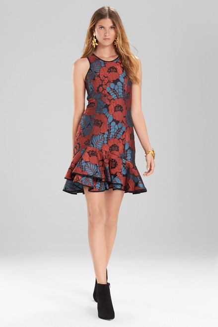 Buy Josie Natori Novelty Jacquard Sleeveless Ruffle Hem Dress from