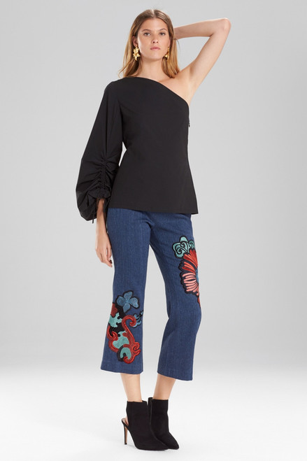 Buy Josie Natori Cotton Poplin One Shoulder Drawstring Balloon Sleeve Top from