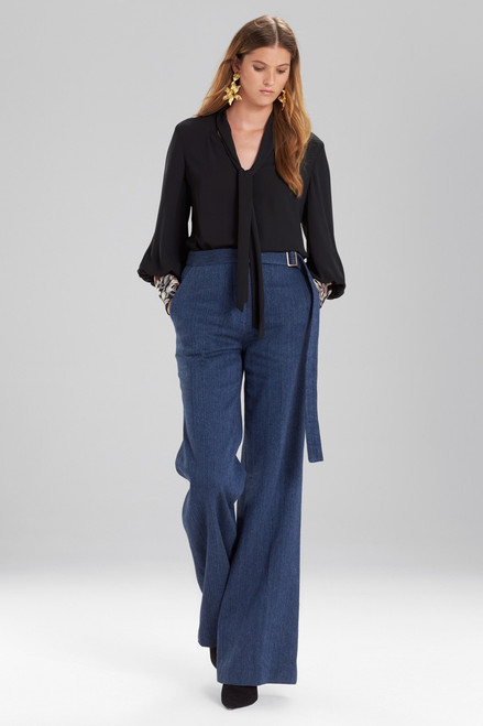 Buy Josie Natori Solid Silky Soft Tie Neck Blouse With Embroidery from