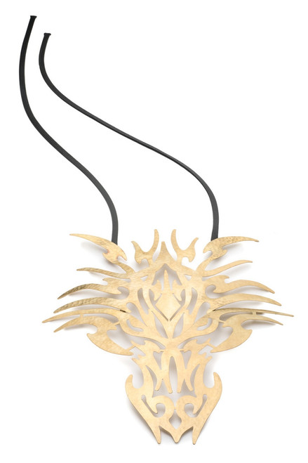 Buy Josie Natori Hammered Brass Dragon Head Necklace from
