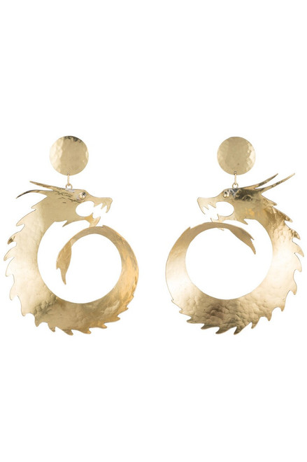 Buy Josie Natori Hammered Brass Dragon Swirl Drop Earrings from