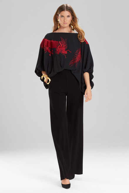 Buy Josie Natori Solid Silky Soft Dragon Embroidery Top from