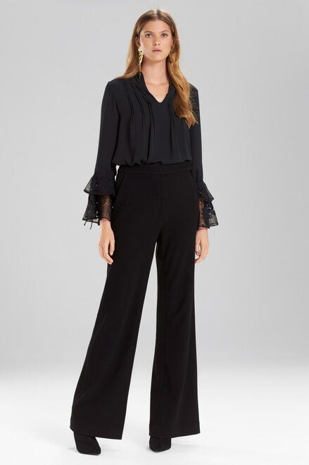 Buy Josie Natori Solid Silky Soft Lace Ruffle Sleeve Top from