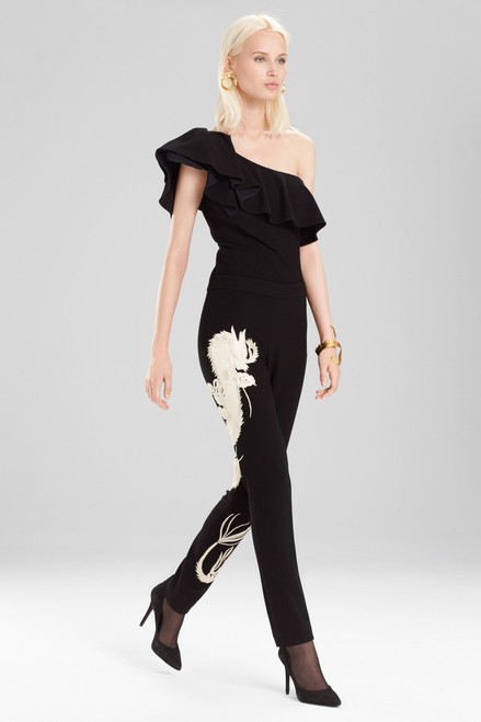 Buy Josie Natori Knit Crepe Slim Pants With Embroidery from