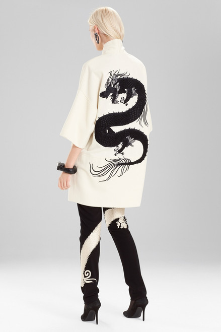 Buy Josie Natori Felt Wool Coat With Embroidery from