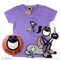 Pengirl takes an afternoon coffee break on this beautiful women's cotton v-neck t-shirt.