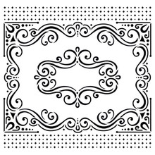 """6x6"""" Fancy Frames Stencil from Hot Off the Press for Chalking Inking Embossing-Paste Sprays Mists Markers More!"""