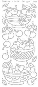 ELIZABETH CRAFT Bowl of Cherries Black EC2533 Peel Off Stickers OUTLINE