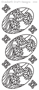 ELIZABETH CRAFT Daisies in Ovals EC2558 Gold Peel Off Stickers OUTLINE