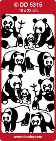 DD5315 Pandas Gold Asian Peel Stickers One 9x4 Sheet