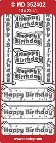 TEXT LABELS Silver-on-Silver MD352402 Happy Birthday Double Embossed Etched Peel Stickers One 9x4 Sheet
