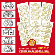 "6-Sheets DS2301-151 Gold Tags Mini-Cards Double Embossed Peel Stickers 9x4"" Sheets"