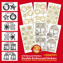 """6-Sheets DS6701-152 Silver Christmas images Double Embossed Peel Stickers 9x4"""" Sheet"""