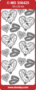 MD356425 Gold Etched Marriage Wedding Doves Rings Hearts Stickers OVER-STOCK BARGAIN!