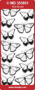 MD355801 BUTTERFLIES Small Silver Double Embossed Peel Stickers One 9x4 Sheet