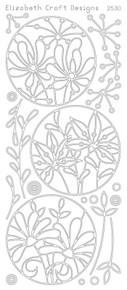 ELIZABETH CRAFT FLOWER CIRCLE FRAME BLACK N2530 Peel Off Stickers OUTLINE