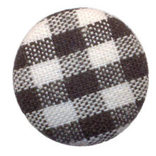 10 Fabric Brads BLACK PLAID (GINGHAM)