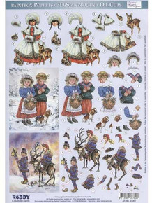 3-D Paintbox Poppets Winter Children 83062 Die Cut