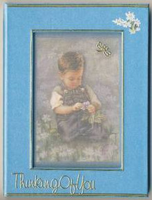 Framed Silk Window BLUE Greeting Card NOTE