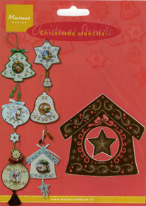 Marianne Design Christmas Embossing BIRD HOUSE 4017465 Embroidery Stencil