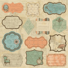 """Grandma's Attic Self-Adhesive Fabric Sheet 12""""X12"""" Journaling Patch Tags Vintage style & color"""