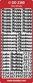 DD2380 Gold Happy Birthday and Various Occasions Peel Stickers One 9x4 Sheet