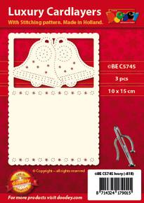 Luxury Cardlayers 3pc A6 Layer Bells Stitchable Ivory 10x15cm Laser-Cut Card