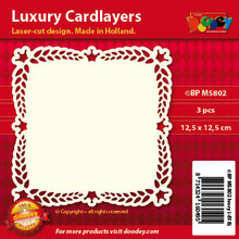 Luxury Cardlayers 3pc Braid Edge Layer Ivory 12.5x12.5cm Laser-Cut Card