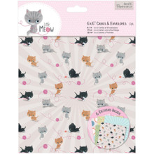 "Little Meow 6x6"" Cards & Envelopes 2 Each of 6 Designs w/12 Envelopes"