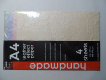 PaperCellar A4 Pastel Leather Effect Paper Decorative Papers 4 Sheets