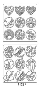 Peel-Offs Seals Various 7102 Silver Text Peel Stickers