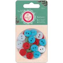 Papermania Bellissima Christmas Buttons 30/Pkg-5 Color Assortment