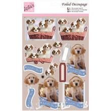 Anita's Foiled & Die-Cut Decoupage 3-D Papier Tole --  Puppy Love 169655 DOGS