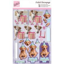 Anita's Foiled & Die-Cut Decoupage 3-D Papier Tole --  Party Pooches 169656 DOGS