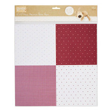 """Self-Adhesive Fabric Paper Hearts & Dots 12x12"""" - 1 Sheet"""