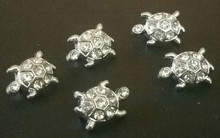 Rhinestone Ribbon Slider Charm TURTLE 5pc C2006