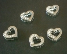 Rhinestone Ribbon Slider Charm Open Heart Half Rhinestones 5pc C2007