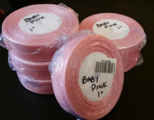 "Organza Ribbon 1"" BABY PINK  50-yards RN0014-20 (Pink with a Light touch of pink)"