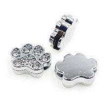 Rhinestone Ribbon Slider Charm Paw Print Silver Circle 4pc C2011 Dog Cat